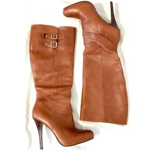 STEVE MADDEN Cognac Ensue Leather Boots Size 8.5